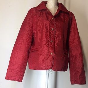 Red Floral Padded Quilt Windbreaker Fall Jacket